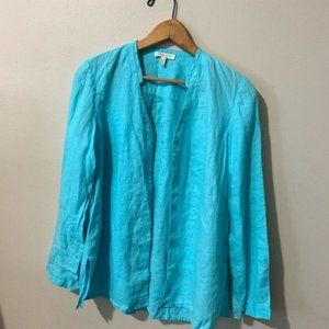 Eileen Fisher soft sky blue button front blouse